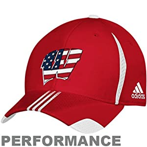 Buy adidas Wisconsin Badgers Red Sideline Patriotic Performance Flex Fit Hat by adidas