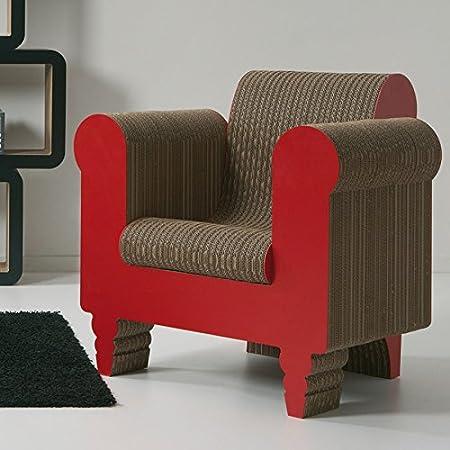 Fauteuil en carton tridimensionnel kubedesign mod. Clorinda avec finition rouge