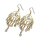 Sitara Collections SC10331 Gold-Plated Brass Crystal Quartz Chandelier Earrings
