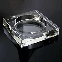 Square Crystal Cigarette Ashtray Tabletop Cigar Ashtray Home Office Beautiful Decoration Craft 6 Inch