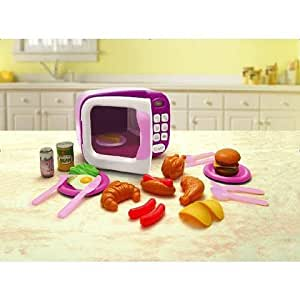 game play just like home microwave oven pink toy plastic playset kitchen. Black Bedroom Furniture Sets. Home Design Ideas