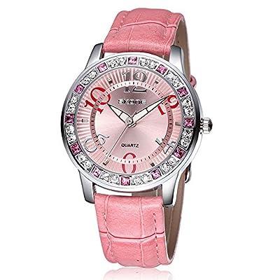 Pink Leather Watch Women Fashion Casual Dress Diamond Wristwatch For Lady