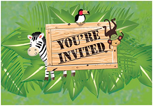 Creative Converting 8 Count Safari Adventure Gatefold Party Invitation, Multicolor