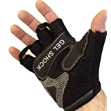 Fingerless Weight Lifting Gloves - Gel Shock Technology Padding *Black/Red MEDIUM*by Mammoth Supplements