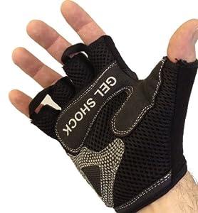 Fingerless Weight Lifting Gloves - Gel Shock Technology Padding *Black/Red LARGE*