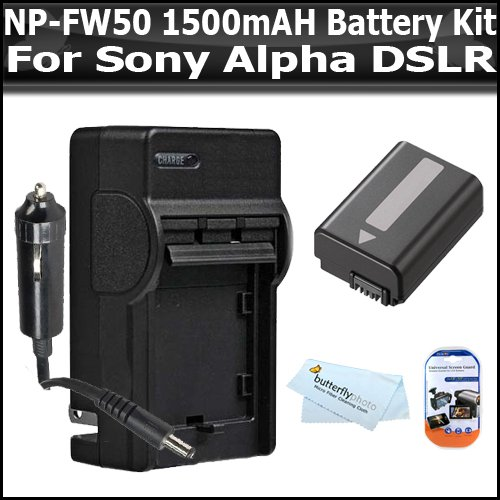 Battery Kit For Sony A55, A33, DSLR SLT A55, SLT A33 Includes Replacement Extended NP-FW50 (1500 mAH) Battery + Ac/Dc 110/220 Travel Charger + Clear LCD Screen Protectors + BP MicroFiber Cleaning
