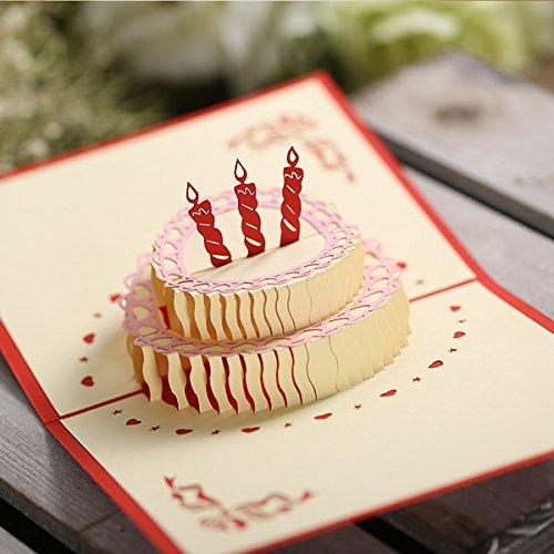 [ARTASY WORKSHOP®][並行輸入品] かわいい 3D ポップアップ 立体 クリエイティブ バースデー ケーキ スペシャル ギフト プレゼント お誕生日 バースデー お祝い グリーティングカード 折り畳み 封筒付き 3D Happy Birthday Cards With Envelope (3本キャンドル(レッド)(180° ))