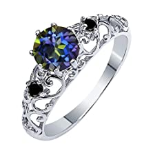 buy 1.11 Ct Round Blue Mystic Topaz Black Diamond 925 Sterling Silver Ring