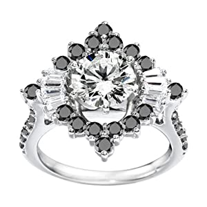 Promise Ring Set with Black And White Diamonds mounted in 14k White Gold (3.66 ct. twt.)