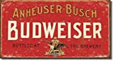 Large Budweiser LAGER Beer Vintage Retro Metal Tin Wall Plaque Sign 16x8.5