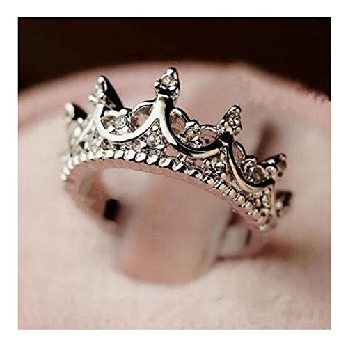 Hot present Exquisite Queen Princess Silver Rhinestone Crystal Crown Ring Hot 1pc 6