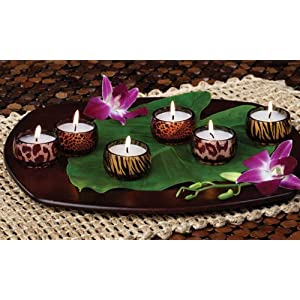 Club Pack of 36 Gardenia Scented Animal Print Glass  Tea Light  Candles