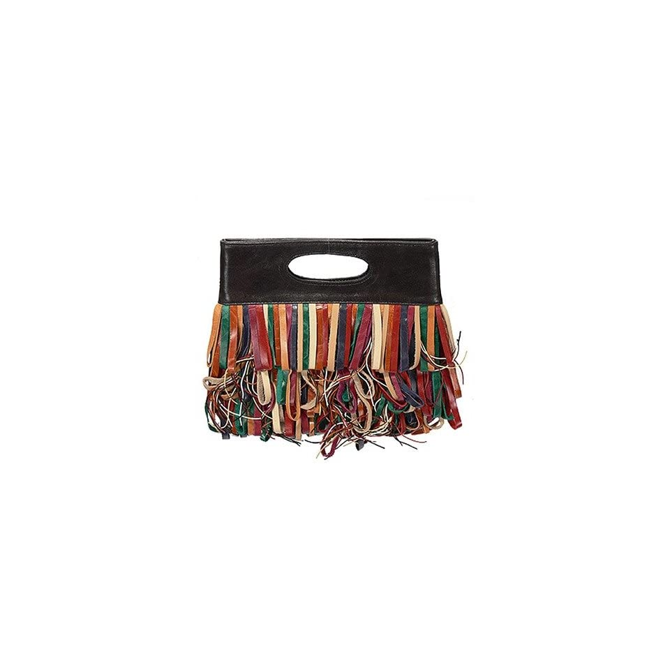 Leathers L2615 Le Cirque Collection Leather Fringe Clutch Color Brown