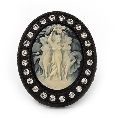Large Pearl 'Cameo' Cocktail Ring In Black Tone Metal (Adjustable) - 5.5cm Length