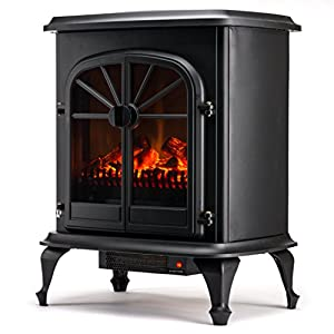 Wellington Free Standing Electric Fireplace Stove 28 Inch Black Portable Electric