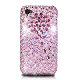 iPhone4/iPhone4S スワロフスキー(Swarovski)/花 ケース/カバー ピンク(Flower Pink)ハイクオリティー
