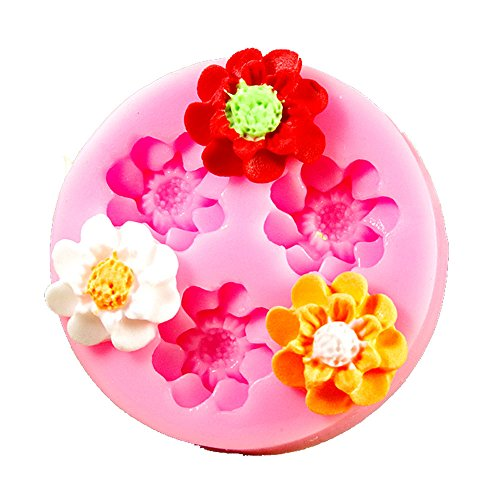 Longzang F0150 Flower Fondant Silicone Sugar Craft Mold, Mini, Pink