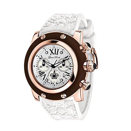 Glam Rock Unisex Summertime 46mm Blanco Banda De Silicona Funda bañado en oro rosa reloj de cuarzo suizo gr30112mw