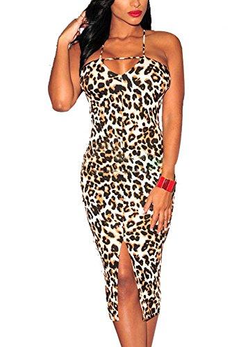 Dear-Lover Women'S Spaghetti Strap Leopard Print Crisscross Back Front Slit Dress