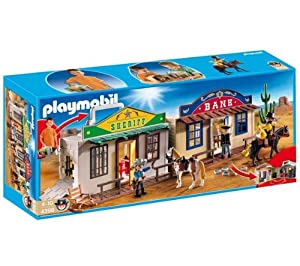 Playmobil 4398 - My Take Along Western City with Bank, Sheriff's Office, People, Horses and much more