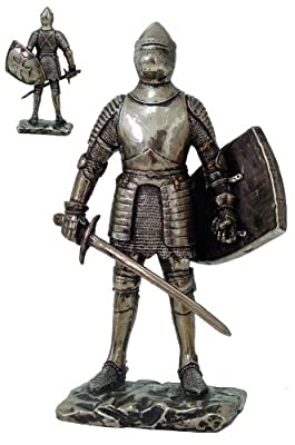 """Medieval Knight Statue Bronze Finishing Cold Cast Resin Statue 7"""" tall"""
