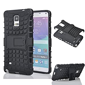 True For Samsung Galaxy Note4 Defender Series Dual Layer Hybrid TPU + PC Kickstand Case Cover for Samsung Galaxy Note4 - Black