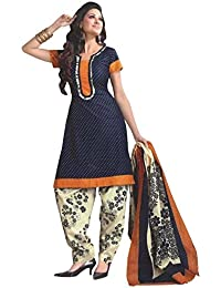 Clickedia Women's Straight Cut Poly Cotton Printed Beige & Red Blue White Salwar Suit - Dress Material