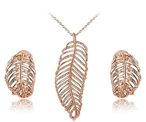 Kristalle Pflastersteine hollowcut Feder Form Ohrringe und Halsketten