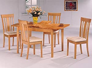 5pc Maple Finish Butterfly Leaf Dining Room Table Chairs Se
