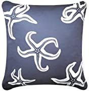 Starfish 18x18 Decorative Organic Cotton Throw Pillow Cover Misty Grey