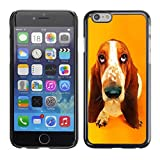 All Phone Most Case Hard PC Metal piece Shell Slim Cover Protective Case for Apple Iphone 6 Basset Hound  Pendant Ear Dog
