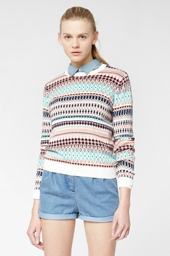 L!VE Long Sleeve Mini Tribal Printed Crewneck Sweater