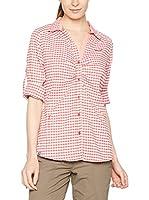 Salewa Camisa Mujer Fanes Hike Dry W L/S Srt (Vino / Blanco)