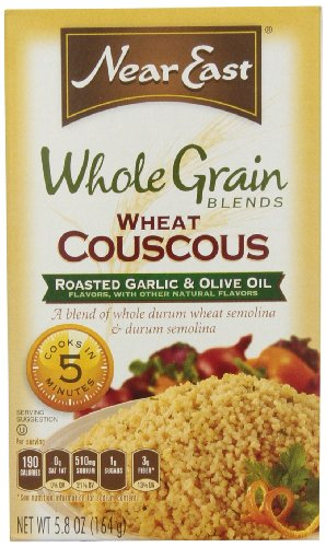 Near East Whole Grain Blend Wheat Couscous, Roasted Garlic & Olive Oil, 5.8-Ounce Boxes (Pack Of 12)