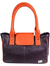 Stylish Purple Color Imported PU Leather Casual Handbag With Double Handle For Women's/Ladies/Girls