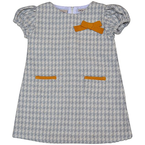 Girl's Knit Party Dress with Bow - Fancy Sweater Dress in Gray Houndstooth with Mustard Yellow Bow & Faux Pocket (Baby), 12M