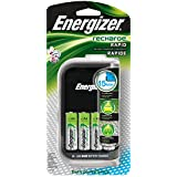 Energizer Recharge Rapid Charger with 4 AA NiMH Rechargeable Batteries (included) Car and AC Wall Adaptor, 15-Min Charge Time