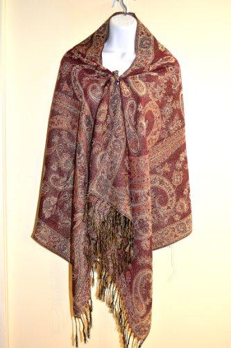 "Burgundy Red Jacquard Floral Pashmina Shawl Scarf- 27.5 X 67"" (B2)"