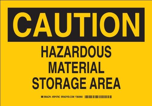 "Brady Sp470C Plastic, 10"" X 14"" Caution Sign Legend ""Hazardous Material Storage Area"""