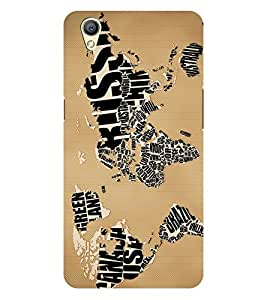 Chiraiyaa Designer Printed Premium Back Cover Case for OPPO A37 (map typography world) (Multicolor)