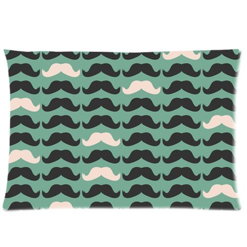 Black And White Mustache Pattern Custom Zippered Bed Pillow Cases 20X30 (Twin Sides)