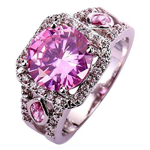 Psiroy 925 Sterling Silver Stunning Created Gorgeous Women's 11mm*11mm Round Cut CZ Pink Topaz Filled Ring