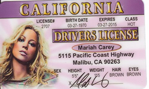 Mariah Carey Novelty Drivers License / Fake I D  Identification For  Emotions / One Sweet Day Fans