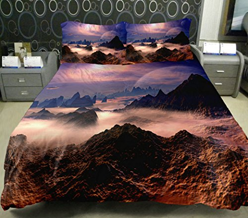 Anlye Beautiful Mountain Bedding Sets Set 2 Sides Printing Valleys Quilt Coverlet Clouds Bed Linens With 2 Matching Peaks Pillowcase Twin front-691991