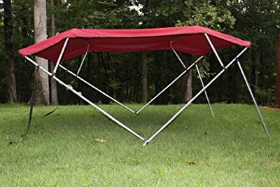 """Burgundy Pontoon / Deck Boat Vortex 4 Bow Bimini Top 8' Long, 91-96"""" Wide, 54"""" High, Complete Kit, Frame, Canopy, and Hardware (FAST SHIPPING - 1 TO 4 BUSINESS DAY DELIVERY)"""