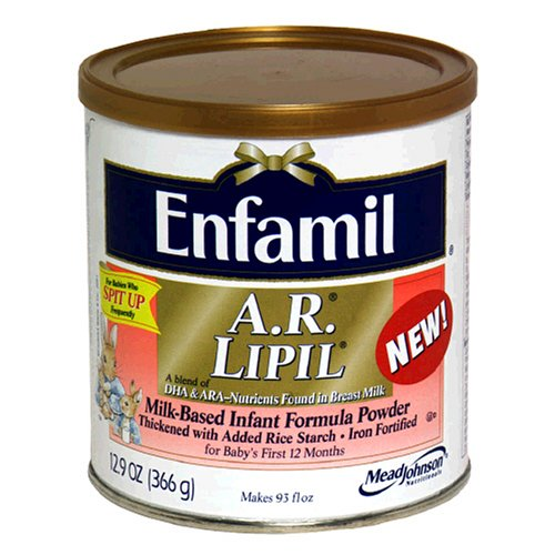Enfamil A.R. Lipil Milk-Based Infant Formula Thicken With Added Rice Starch, Iron Fortified , 12.9 Oz (366 G)