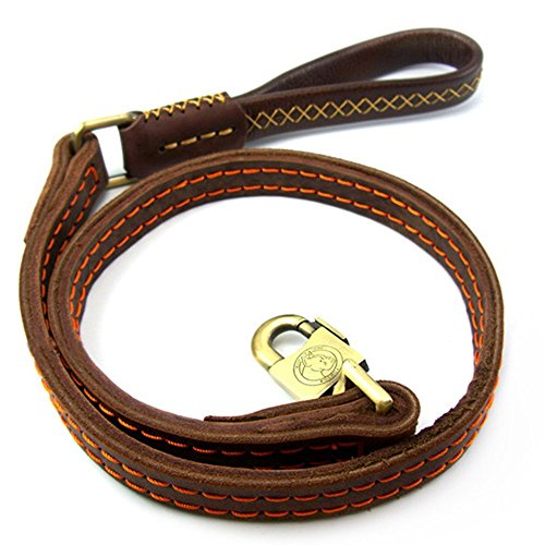Jpettie-Premium-High-Grade-Paded-Brown-Leather-Dog-Leash-4ft-Handmade-Top-Quality-1-width-Leather-Leash-With-Soft-Handle-for-Owners-When-Walking-Training