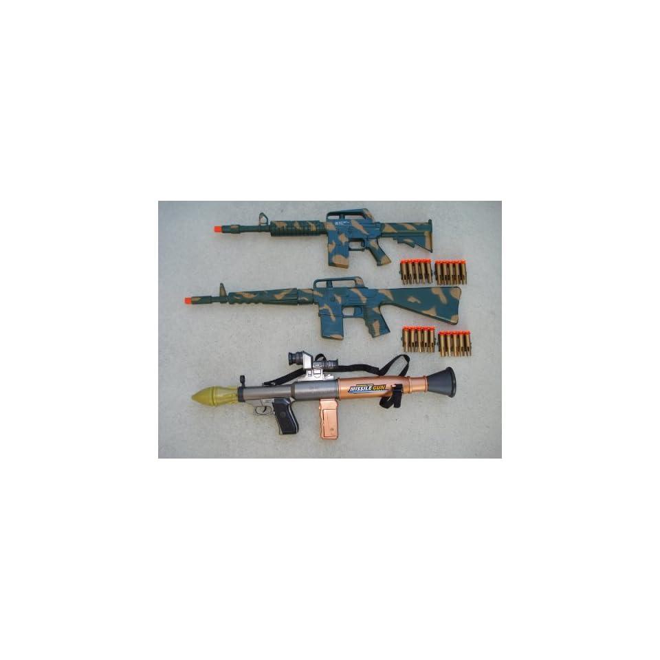 M16 + AR 15 Dart Gun Rifles Army Camouflage + Bazooka Missile