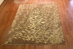 Merrifield Oriental Rug MOR0167-06 Handmade Wool Rug, Modern Design, Brown And Beige 5 ft. 11 in. x 8 ft. 10 in.