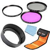 K&F Concept 52mm UV CPL FLD Lens Accessory Filter Kit UV Protector Circular Polarizing Filter for Nikon D5300 D5200 D5100 D3300 D3200 D3100 DSLR Cameras + Bayonet Lens Hood (replacement Nikon HB-33 ) + Lens Cleaning Cloth + 3 Slot Filter Pouch